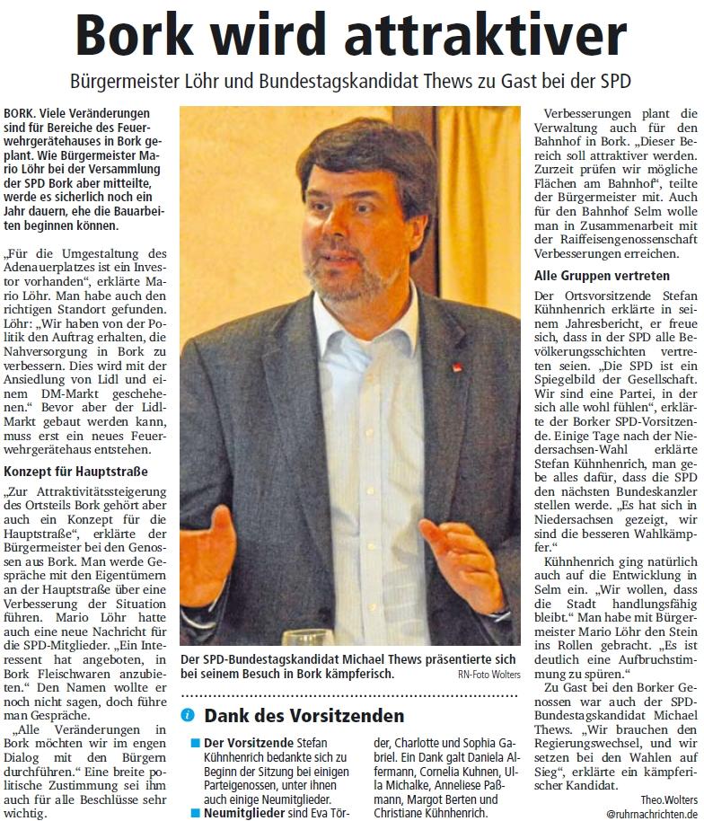 Bericht der Ruhr Nachrichten Selm vom 25.01.2013 (Print)