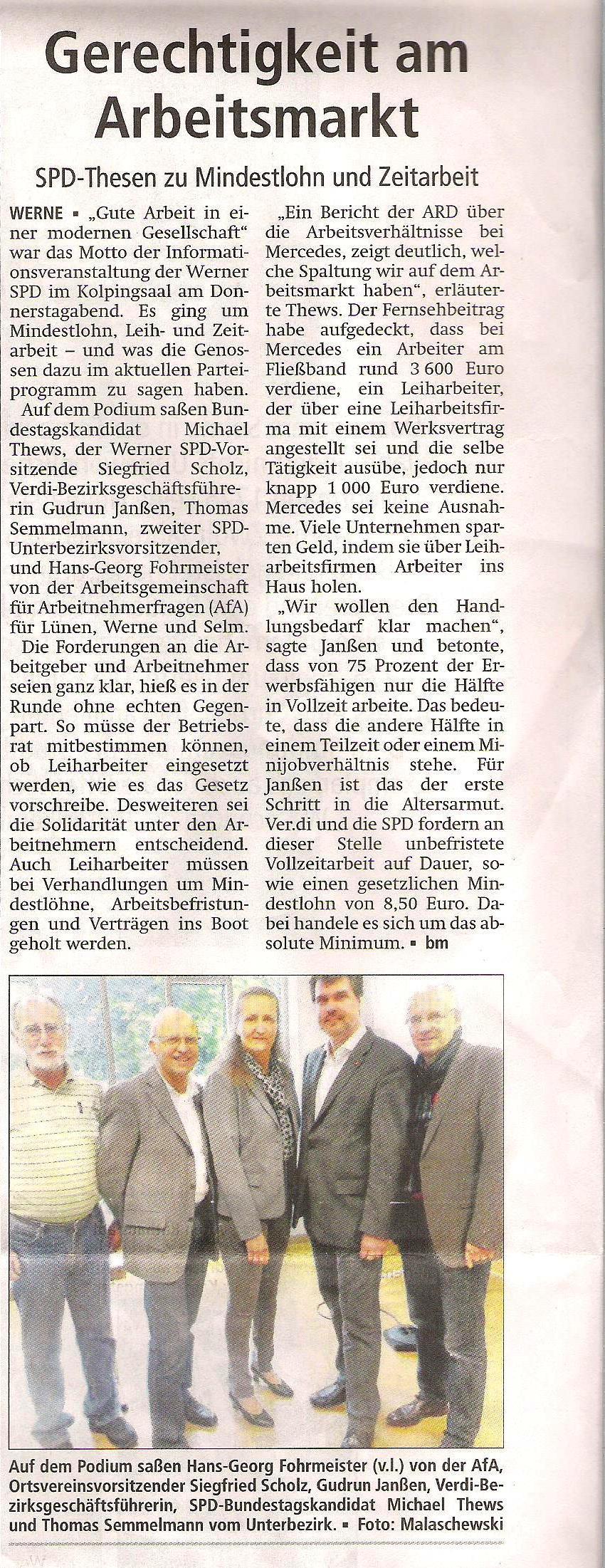 Westfälischer Anzeiger vom 18.Mai 2013