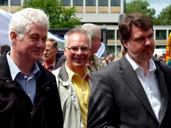 Sylvia Löhrmann mit Bundestagskandidat Michael Thews, Landrat Michael Makiolla und den Jusos
