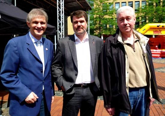 Landrat Michael Makiolla, Bundestagskandidat Michael Thews, Ratsherr Rüdiger Haag